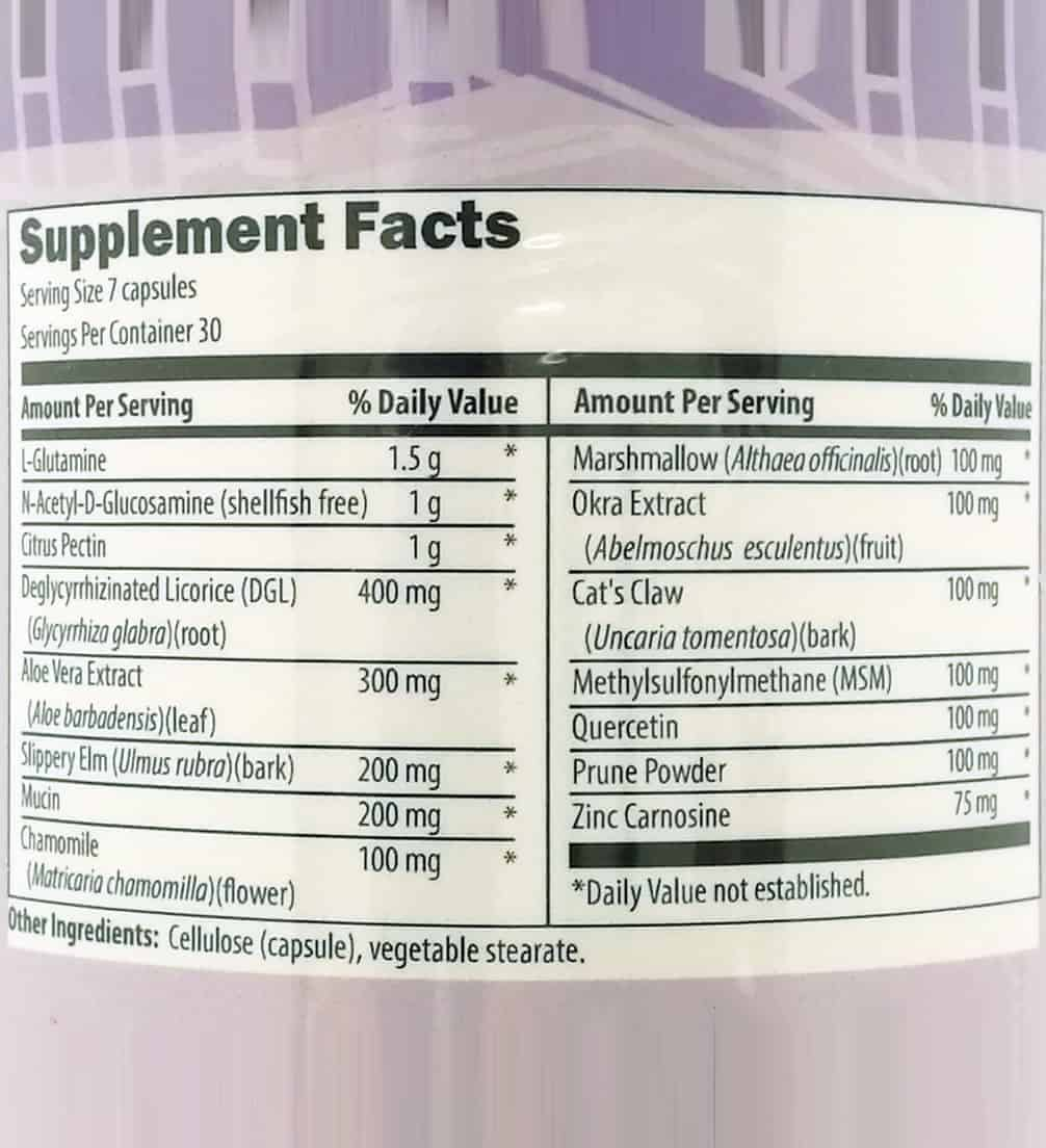 GI soothe gluten free supplement facts label - GI Soothe