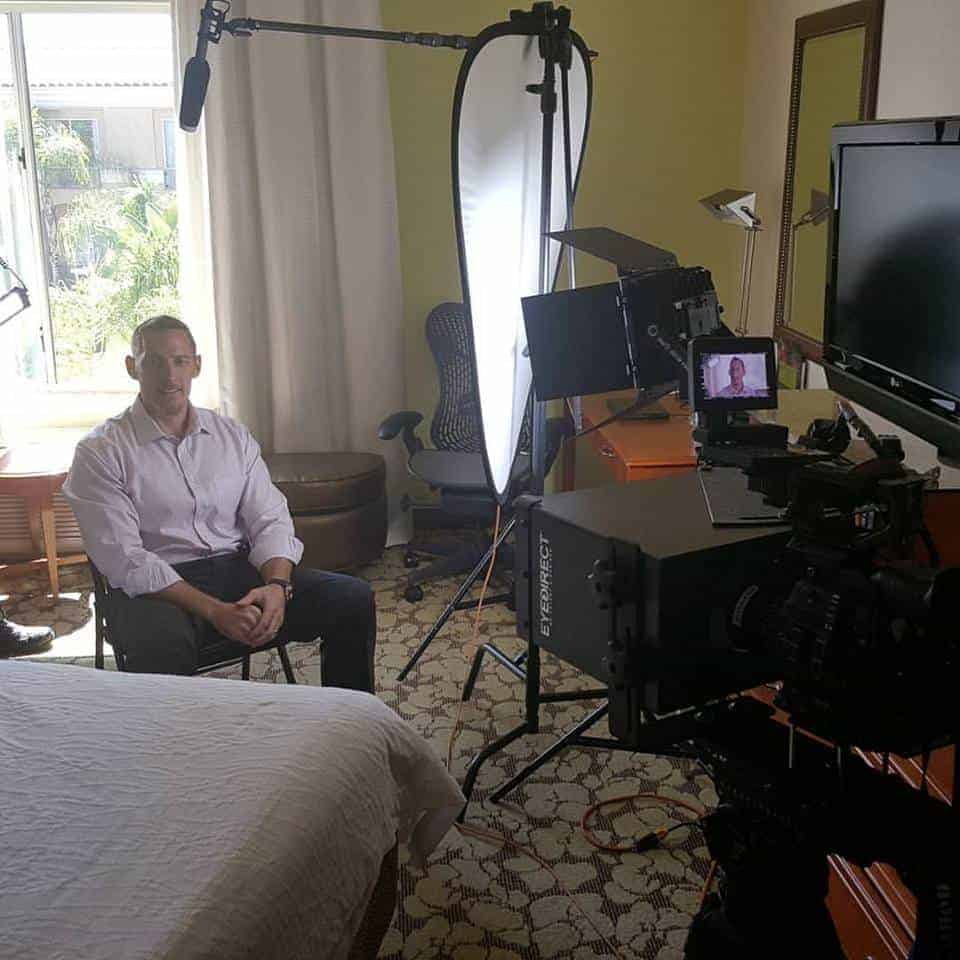 Netflix film crew interviewing Dr. Peter Osborne