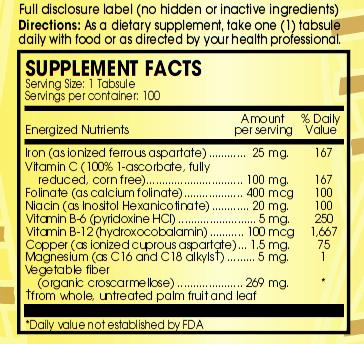 Ultra Iron Ingredients