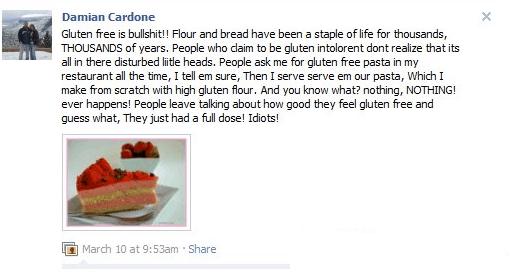 chef damian cardone and gluten remark